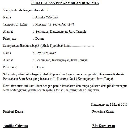 contoh surat pengambilan dokumen