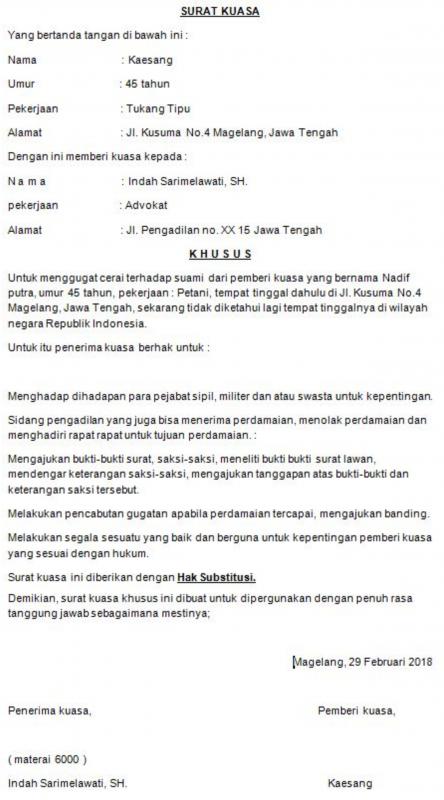 contoh surat kuasa gugatan cerai