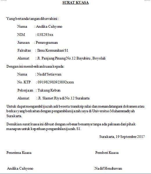 surat kuasa pengambilan ijazah